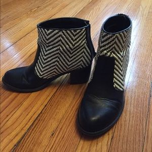 Black and white woven booties
